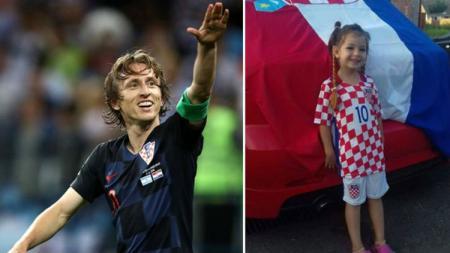 Luka Modric dan bocah penderita leukemia. - INDOSPORT