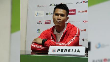 Pemain Persija Jakarta, Shahar Ginanjar saat konferensi pers. - INDOSPORT