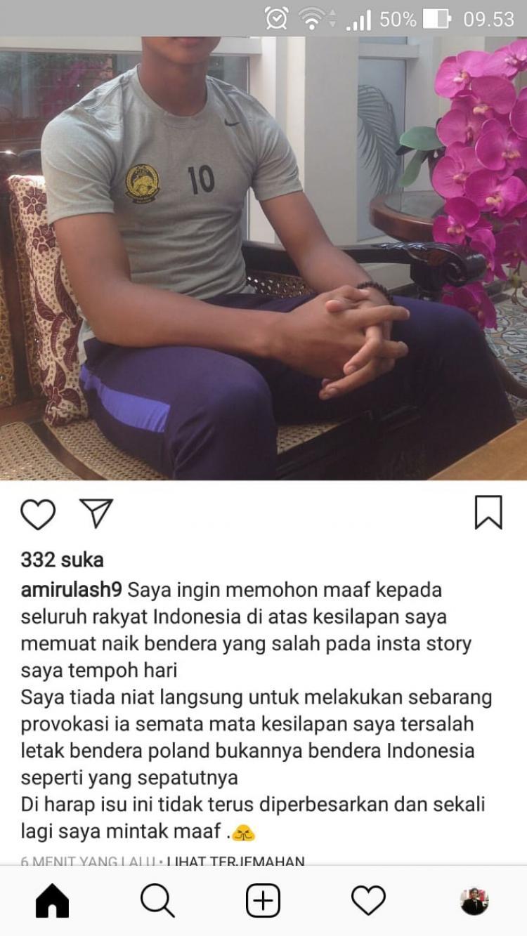 Cuitan Amirul Amirul Ashafiq minta maaf atas kelakuannya. Copyright: Instagram