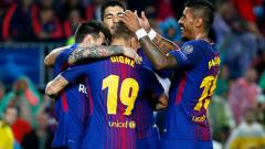 Indosport - Selebrasi skuat Barcelona.