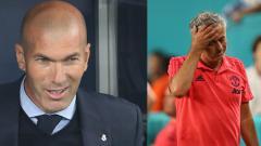 Indosport - Mantan pelatih Real Madrid, Zinedine Zidane (kiri) dan Jose Mourinho, pelatih Man United.