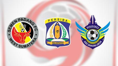 Logo 3 tim degradasi Semen Padang, Persiba Balikpapan, dan Persegres Gresik United di Liga 2 2018. - INDOSPORT