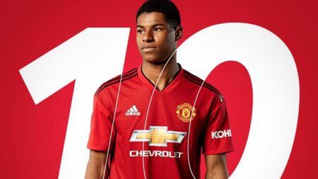 Striker muda Man United Marcus Rashford resmi mengenakan nomor punggung baru, yakni 10. - INDOSPORT