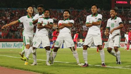 Aksi selebrasi pemain Timnas Indonesia U-16. - INDOSPORT