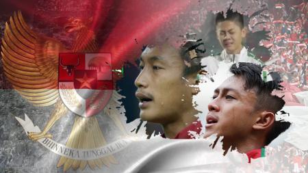 Hansamu Yama, Febri Hariyadi, dan Rendy Juliansyah menangi saat menyanyikan lagu Indonesia Raya. - INDOSPORT