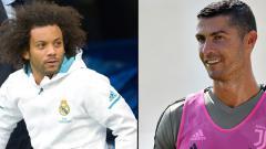 Indosport - Bek kiri Real Madrid, Marcelo dan Cristiano Ronaldo, pemain megabintang Juventus.