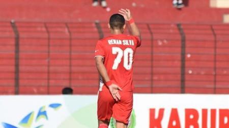 Aksi selebrasi Renan Silva saat masih membela Persija Jakarta. - INDOSPORT