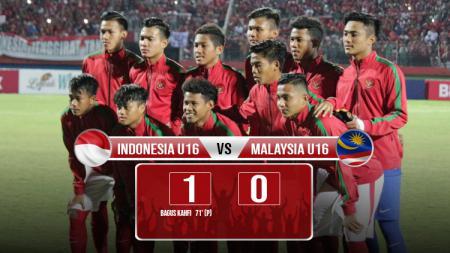 Hasil pertandingan Indonesia U16 vs Malaysia. - INDOSPORT