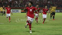 Indosport - Aksi selebrasi Bagus Kahfi usai cetak gol ke gawang Malaysia.