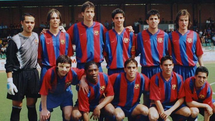 Lionel Messi, Cesc Fabregas dan Gerard Pique. saat masih berada di La Masia. Copyright: Sportskeeda