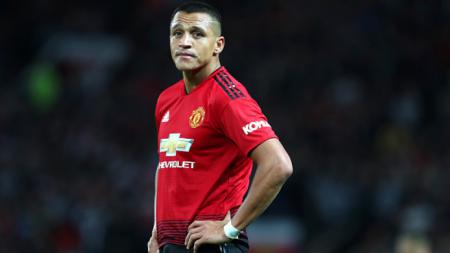 Pemain Manchester United, Alexis Sanchez saat melawan Leicester City. - INDOSPORT