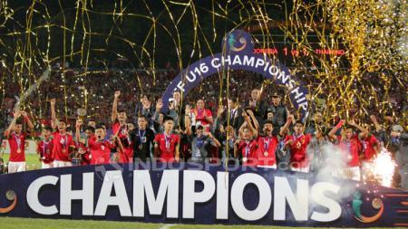 Selebrasi Indonesia setelah menjuarai Piala AFF U-16. - INDOSPORT