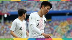 Indosport - Bintang Timnas Korea Selatan, Son Heung-min saat bermain di Piala Dunia 2018.