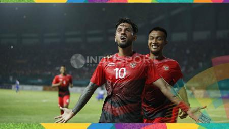 Selebrasi Stefano Lilipaly usai mencetak gol ke gawang Taiwan. - INDOSPORT