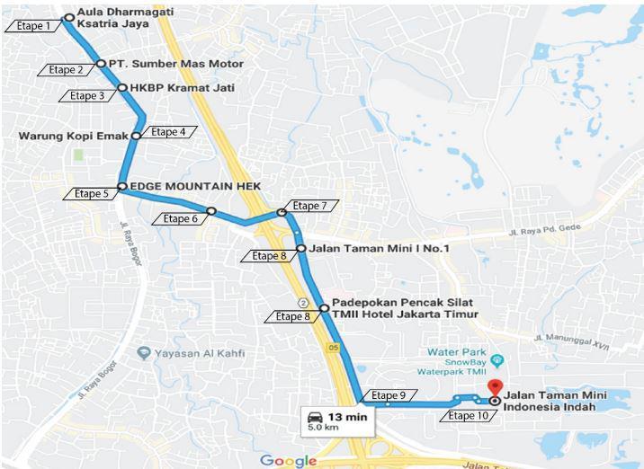 Rute Obor Asian Games 2018 di Jakarta Timur. Copyright: INASGOC