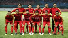Indosport - Starting Eleven Timnas Indonesia U-23 kala bersua Palestina U-23.