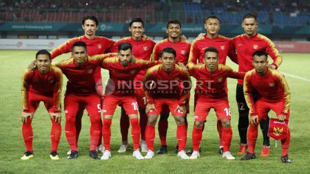 Starting Eleven Timnas Indonesia U-23 kala bersua Palestina U-23. - INDOSPORT