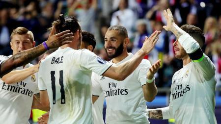 Penggawa Real Madrid merayakan gol ke gawang Atletico dalam laga Piala Super Eropa 2018. - INDOSPORT