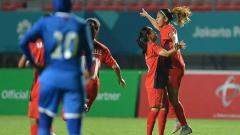 Indosport - Tim sepak bola wanita Indonesia VS Maladewa.