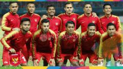 Indosport - Starting Eleven Timnas Indonesia U-23 kala bersua Laos U-23.