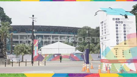 GBK jelang Opening Ceremony Asian Games 2018. - INDOSPORT