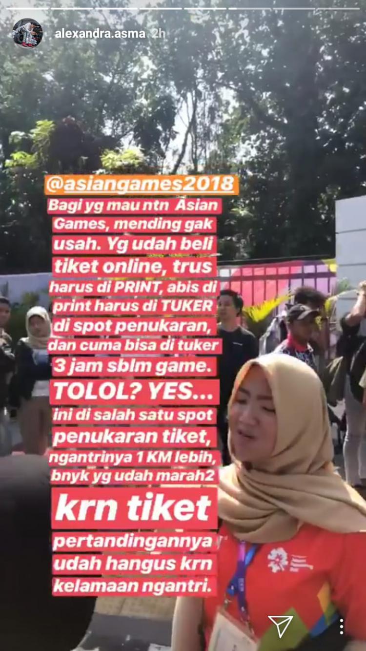 Kekesalan Alexandra Asmasoebrata tiket Asian Games 2018 Copyright: Intagram Alexandra Asmasoebrata