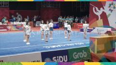 Indosport - JKT48 tampil di pertandingan cabang olahraga wushu pada Asian Games 2018.