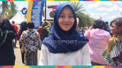 Indosport - Nadira, penonton asal Lampung yang rela datang ke Palembang.