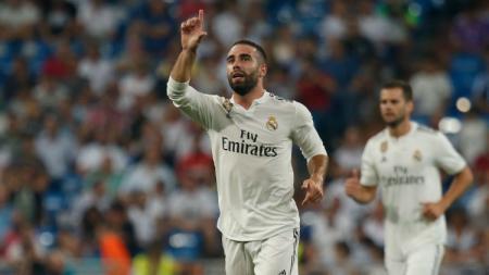 Dani Carvajal dalam pertandingan kandang Real Madrid. - INDOSPORT