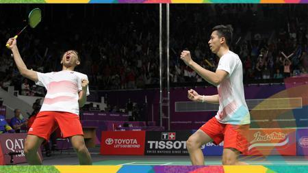 Fajar Alfian/Rian Ardianto memastikan ke final bulutangkis nomor beregu putra Asian Games 2018 - INDOSPORT