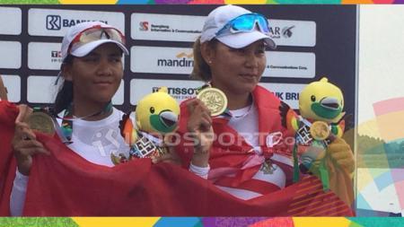 Dayung ganda putri Indonesia dapat medali perunggu Asian Games 2018. - INDOSPORT