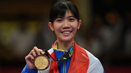 Panipak Wongpattanakit meraih emas Asian Games 2018 di cabor taekwondo putri 49 kg - INDOSPORT