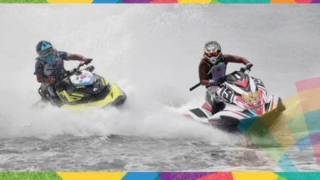 Pebalap Jet Ski Indonesia memimpin balapan di Asian Games 2018. - INDOSPORT