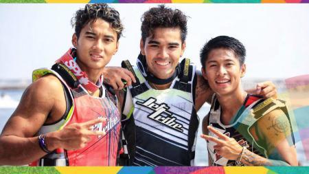 Atlet jetski Indonesia di Asian Games 2018: Aqsa Aswar, Aero Aswar, dan Muhammad Farizi. - INDOSPORT