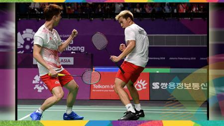 Kevin Sanjaya/Marcus Fernaldi Gideon, pasangan ganda putra bulutangkis Indonesia di Asian Games 2018. - INDOSPORT
