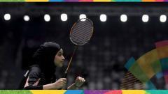 Indosport - Atlet bulutangkis Arab Saudi, Rana Abu Harbesh.