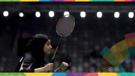 Atlet bulutangkis Arab Saudi, Rana Abu Harbesh. - INDOSPORT