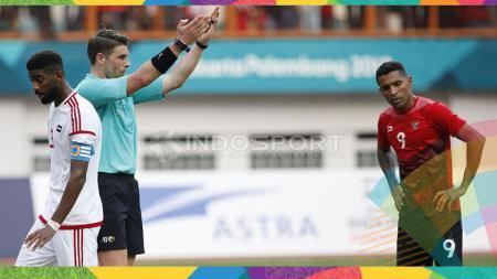 Wasit laga perempat final Asian Games 2018 antara Timnas U-23 vs UEA, Shaun Evans. - INDOSPORT