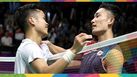Media China soroti kemungkinan duel Kento Momota vs Anthony Sinisuka Ginting yang bakal bertemu di kejuaraan All England 2021. - INDOSPORT