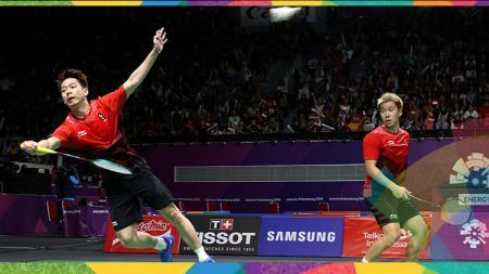 Pasangan ganda putra, Marcus Fernaldi Gideon/Kevin Sanjaya Sukamuljo di Asian Games 2018. - INDOSPORT