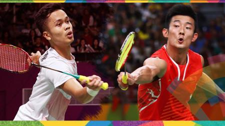 Anthony Sinisuka Ginting dan Chen Long. - INDOSPORT