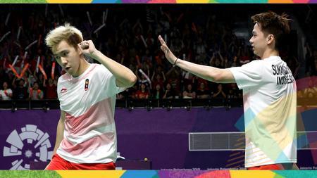 Kevin Sanjaya/Marcus Gideon di semifinal Asian Games 2018. - INDOSPORT