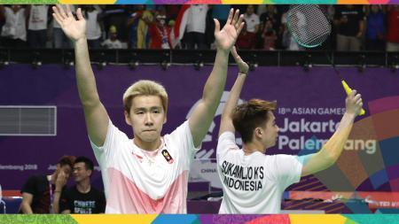 Kevin Sanjaya/Marcus Gideon saat merayakan kemenangan. - INDOSPORT