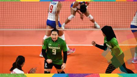 Tim voli putri Indonesia saat melawan Thailand di penyisihan Grup A Asian Games 2018. - INDOSPORT