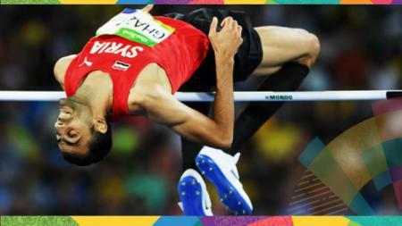 Majd Eddin Ghzal raih perunggu di lompat tinggi Asian Games 2018, medali pertama untuk negaranya Suriah. - INDOSPORT