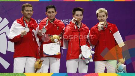 Kevin Sanjaya/Markus Fernaldi Gideon dan Fajar Alfian/Muhammad Rian Ardianto di ajang Asian Games 2018 - INDOSPORT
