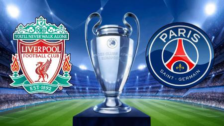 Logo Liverpool vs Paris Saint-Germain di Liga Champions. - INDOSPORT