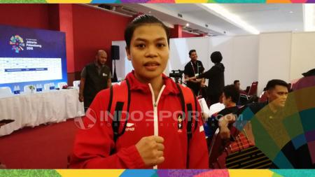 Huswatun Hasanah usai bertanding dan merebut medali perunggu. - INDOSPORT