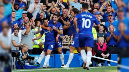 Selebrasi Pedro usai mencetak gol di laga Chelsea vs AFC Bournemouth di Liga Primer Inggris. - INDOSPORT