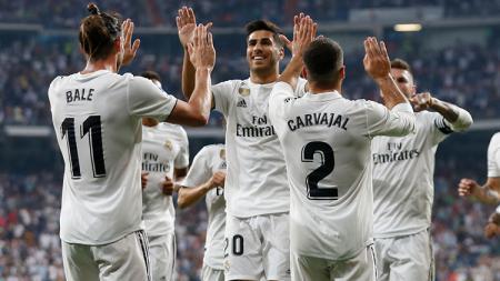 Para pemain Real Madrid tengah selebrasi saat melawan Leganes di La Liga Spanyol. - INDOSPORT